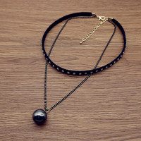 Women Leather River Choker Necklace + Gift Box