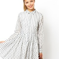 ASOS Shirt Dress In Jacquard Spot