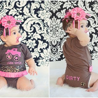 Truck Onesuit Outfit leapord pink Monster Truck