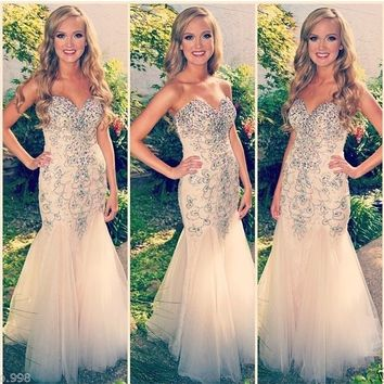 Tulle Mermaid Evening Dress Beading Sweetheart Prom Gown Women Party Dress 2015