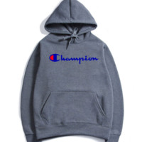 The Champion stereo printed with a velvet jacket, a new style hooded, autumn and winter wear men's hoodies.Icon with letter
