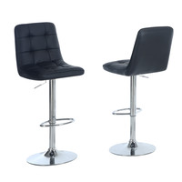 Black / Chrome Metal Hydraulic Lift Barstool (Set Of 2)