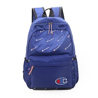 Champion Trending Women Men Casual Canvas School Backpack Travel Bag Blue