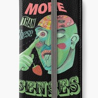 'More than these senses, illustrated quote about perception' Funda tarjetero para iPhone by Sinmigo
