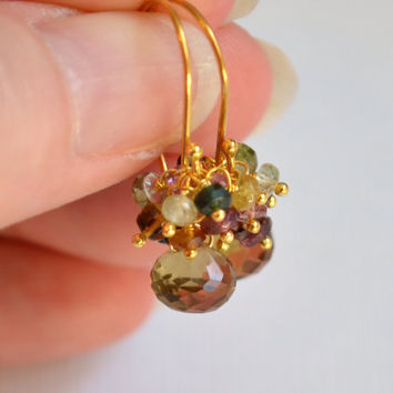 NEW Gemstone Drop Earrings, Tourmaline Clusters, Beer Quartz, Real Stone, Vermeil, Gold Jewelry, Free Shipping