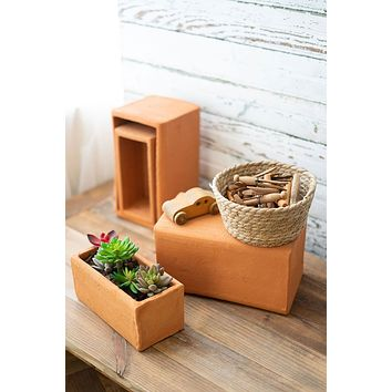 Set Of 4 Natural Clay Risers Planters