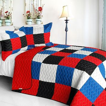 [Delicate Plaid - B] Vermicelli-Quilted Patchwork Plaid Quilt Set Full/Queen