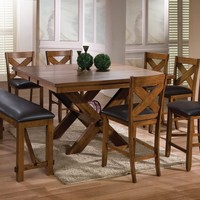 8 pc Apollo collection contemporary style walnut finish wood counter height dining table set with vinyl padded seats