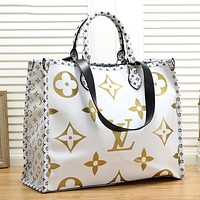 LV Louis Vuitton Fashion Women Shopping Bag Leather Handbag Shoulder Bag Satchel White