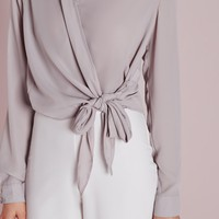 Missguided - Tie Front Cropped Blouse Grey
