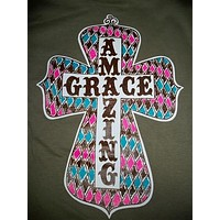 SALE Southern Chics Funny Amazing Grace Cross Christian Girlie Bright T Shirt