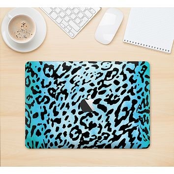 """The Hot Teal Cheetah Animal Print Skin Kit for the 12"""" Apple MacBook (A1534)"""
