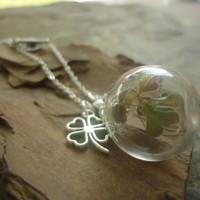 GLASS BALL and  lucky CLOVER  delicate necklace with real clover