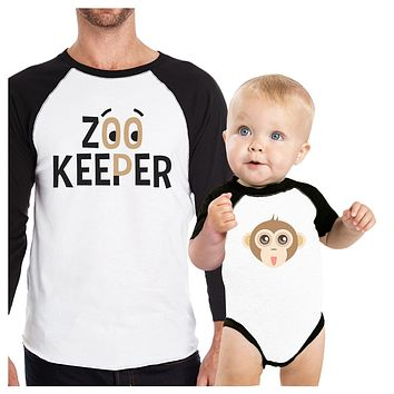 Zoo Keeper Monkey Dad and Baby Matching Black And White Baseball Shirts