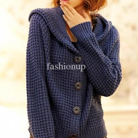 Hottest Women Sweater Winter Autumn Long-sleeveed fashion Hat Collar New Cardigan Sweaters 8Color XF08-11