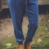 Drawstring Joggers in Blue