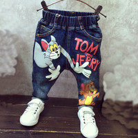 New 2017 Baby Boys Girls Jeans Cartoon Cat and Mouse 2-7yrs Boys Jeans Brand Children Clothing Kids Jeans Children Casual Pants