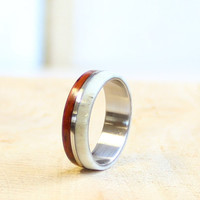 Antler men ring wood and stainless steel ring unisex ring