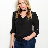 Women Plus Size Fashion Black Peasant Top Blouse Shirt Crochet Accent Casual Relaxed Fit