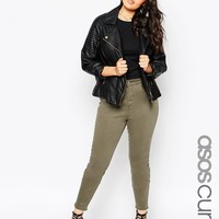 ASOS Curve   ASOS CURVE Lisbon Midrise Ankle Grazer Jeans in Sage Green at ASOS