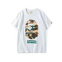 BAPE & SUPREME Joint Camouflage Camouflage Print T-shirt F-Great Me Store white/Camouflage Green
