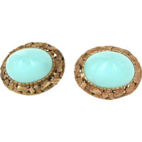 Vintage Turquoise Cocktail Earrings 14 Karat Gold Estate Fine Jewelry Heirloom