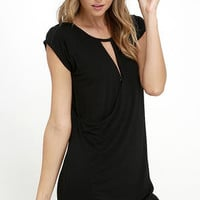 Fluidity Black Wrap Dress