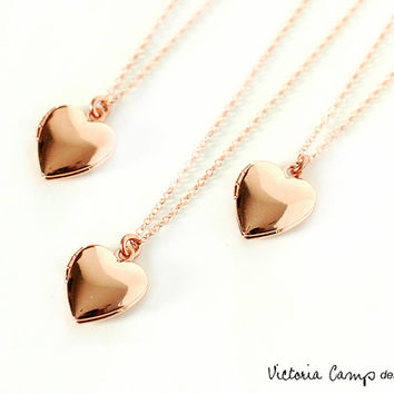 Rose Gold Heart Locket Necklace, Tiny Puffy Heart, Bridesmaids, Bridal Party, Rose Gold, Gift for Her
