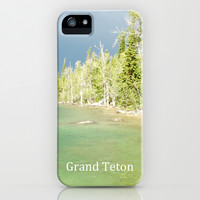 Grand Teton National Park. Landscape photography of lake and trees. iPhone & iPod Case by NatureMatters