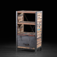 One Drawer Bookcase made of Recycled Wood from Old Fishing Boats | Open- Frame Shelving Unit With Industrial Metal Drawer and Salvaged Wood