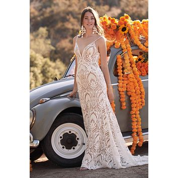 Willowby by Watters Bonnie 54111 Boho Lace Fit and Flair with Deep V Neckline Wedding Dress