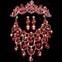 Wedding Bridal Necklace Earring Crown Sets Red Crystal Rhinestone Jewelry New