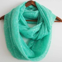 Infinity Scarf Beautiful Crinkle FRESH MINT GREEN color with STARS, COTTON Blend!
