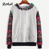 ROMWE Tribal Hoodies Sweatshirts Geometric Print Women Pullover Tracksuit Contrast Sleeve Hooded Sweatshirt With Kangaroo Pocket
