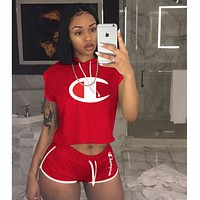 Champion 2018 new women's sexy classic logo printing two-piece F0779-1 Red