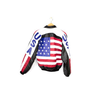 american flag leather bomber jacket - vintage 80s / 90s - USA patch - michael hoban style - mens small