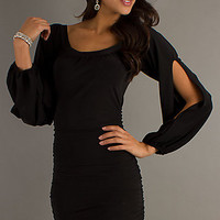 Short Scoop Neck Dress with Long Sleeves