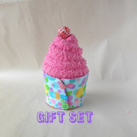 Pastel Polka Dot Sock Cupcake, Coffee sleeve, Insulated Cup cozy, Fuzzy socks, gift for boss, secretary, office coworker, student teacher