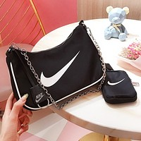 NIKE Fashion New Hook Print Wallet Shoulder Bag Crossbody Bag Two Piece Suit Black