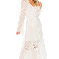 Tessora Lace Up Maxi Dress in White | REVOLVE
