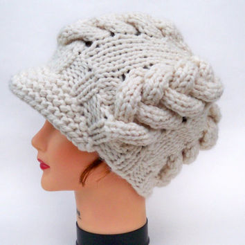 Cable Knit Cap - Women's Newsboy Hat - Cream Hat With Visor - Brimmed Beanie - Chunky Headwear - Knit Accessories