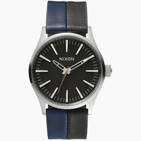 Nixon The Sentry 38 Leather Watch Black/Navy/Black One Size For Men 25971614901