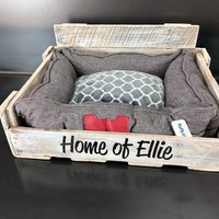 Personalized Pallet Dog Bed in whitewash!! This one's for Ellie and Eli.....Eli, your mom can't keep a secret....