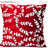 Valentine SALE Red throw pillows with bead sequin detail - Leaves pillow - Silk pillow - Cushion cover zipper - Gift 18x18 - Red white pillo