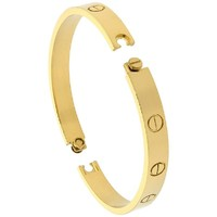 Stainless Steel Screw Head Bangle Bracelet for Women Oval Gold tone 7mm wide, fits 6.5 inch wrists