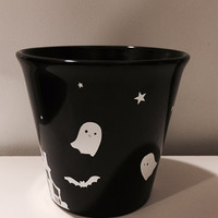 Halloween Stoneware, Spooky Table Decor, Gothic Home Decor, Holiday Gift, Halloween Decor, Ghost Cup, Haunted House, Black Cup, Table Decor