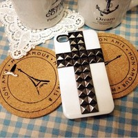 [gryxh3100020]white cross metal rivet case for iphone 4/4s