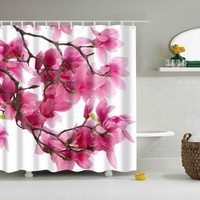 floral shower curtain for bathroom waterproof polyester fabric printed Magnolia flower shower curtain