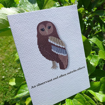 Owl card, this wonderful & original owl greeting card is perfect for anyone who loves birds and wildlife, a fabulous notecard
