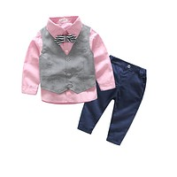 Children's Clothing Sets Boy suit costume cotton baby clothes spring Boys formal Long Sleeve Shirt+trousers+vest